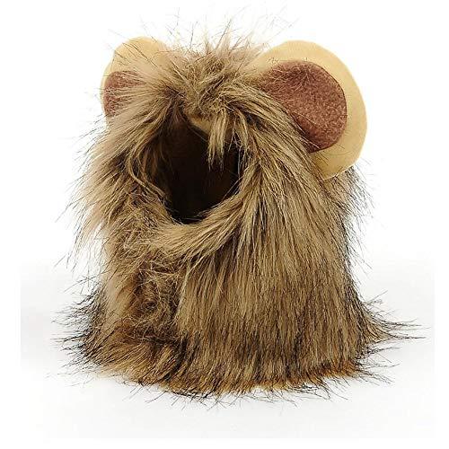 König Oder Hunde Katze Kostüm - Lustige Haustier Lion Mähne Perücken Hut mit Ohren für Hund und Katze, Kostüm Lion Mähne Perücke Welpe Cosplay Kostüm Prop für Halloween 2 PCS,S