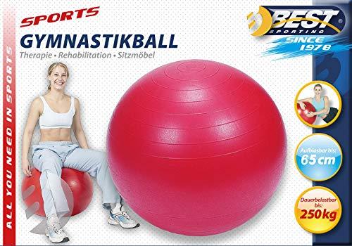 Best Sporting Gymnastikball 65-75-85 cm, blau oder rot, Farbe: rot, Größe:65 cm