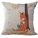 U.Expectating Baumwolle Leinen Platz Zuhause Dekor Kissenbezug Cartoon Fox Kopfkissenbezug Muster(45cm*45cm) (C)