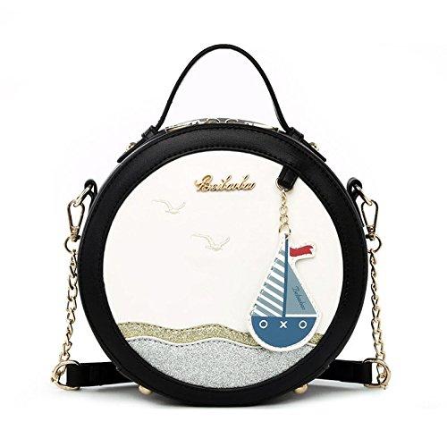 Misonz Ocean Wind PU Leder Oblique Umhängetasche Mini Tragbar Schulter Taschen, Damen, A Black, 20 x 8 x 20 cm