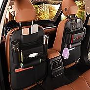 مجموعة منظم ظهر المقعد الخلفي للسيارة مصنوع من جلد البولي يوريثين من ملحقات السفر مكونة من قطعتين / واقي ظهر ا