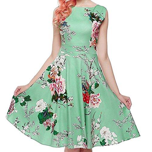 KPILP Damen Abendkleider Vintage Elegante Blumen Druck Übergröße Ärmelloses Petticoat Lässige Abendgesellschaft Prom Swing Rockabilly Kleid(Grün,EU-50/CN-3XL