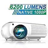 Vidéoprojecteur, TOPTRO 6200 Lumens Vidéo Projecteur Full HD 1080P Natif 1920x1080 Rétroprojecteur LCD Soutien 4K, Correction Trapézoïdale 4D, Fonction Zoom X/Y ±50°, Projecteur LED Home Cinéma, Blanc...