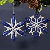 Widdop & Co - Juego de 2 Bolas Decorativas para árbol de Navidad, diseño de Copos de Nieve, Color Azul y Plateado