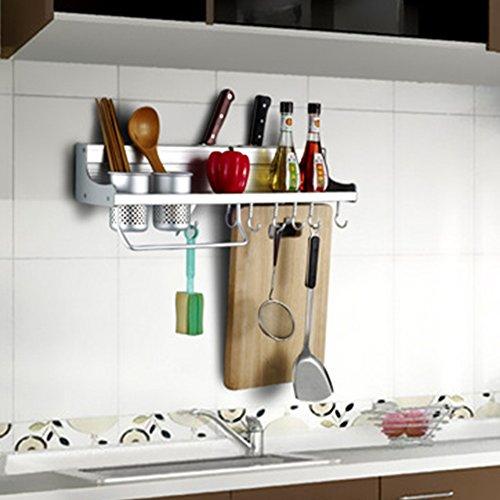 Cocina estante con ganchos, Woopower espacio aluminio cocina estante soporte de pared para especias condimento esquina estantes estante–50cm/19.69cm