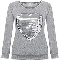 Camiseta con Lentejuelas Corazón De Las Mujeres Talla Grande Blusa de Manga Larga Impresión Suelto Tops con Cuello Redondo Gusspower