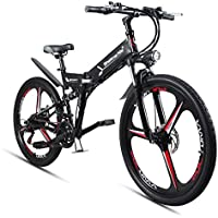 GTYW Bicicleta eléctrica plegable para bicicleta de montaña 48 V de litio con una rueda para