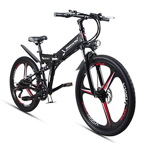 GTYW Bicicleta eléctrica plegable para bicicleta de montaña 48 V de litio con una rueda para bicicleta 26, color negro, tamaño 178*61*120cm