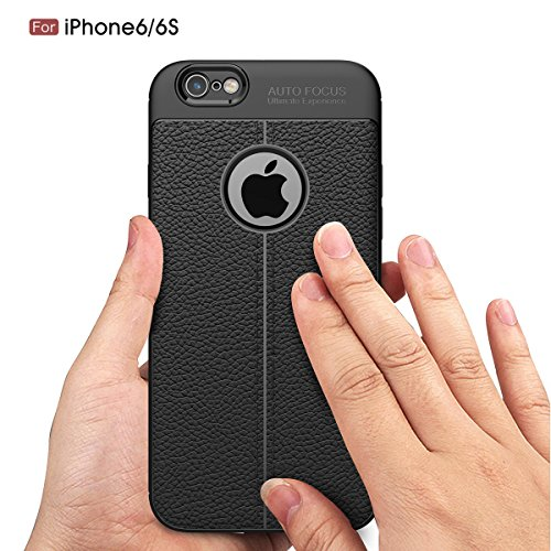 """MOONCASE iPhone 6/iPhone 6s Coque, [Litchi Pattern] Housse Resilient TPU Etui Anti-Rayures Antichoc Protection Case Rugged Armure Defender pour iPhone 6/iPhone 6s 4.7"""" Gris Navy"""