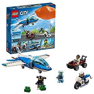 LEGO City ArrestoconilParacadutedellaPoliziaAerea con 3 Veicoli:Aeroplano, Automobile e Moto Giocattolo, Set di Costruzioni per Bambini, 60208  LEGO