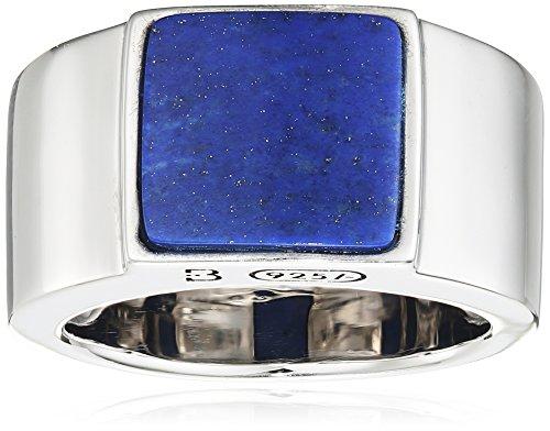 Baldessarini Herren-Ring 925 Silber rhodiniert schwarz lackiert Lapis Lazuli blau 62 (19.7) - Y2121R/90/E4/62