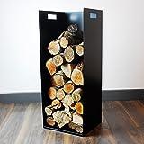 82cm Tall Modern Firewood Log Store Holder for Woodstove Fireplace Wood Holder - UK Made - Pure Black