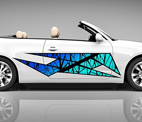 2x Seitendekor 3D Autoaufkleber Streifen Muster abstrakt Digitaldruck Seite Auto Tuning bunt Aufkleber Seitenstreifen Airbrush Racing Autofolie Car Wrapping Tribal Seitentribal CW203, Größe Seiten LxB:ca. 80x20cm
