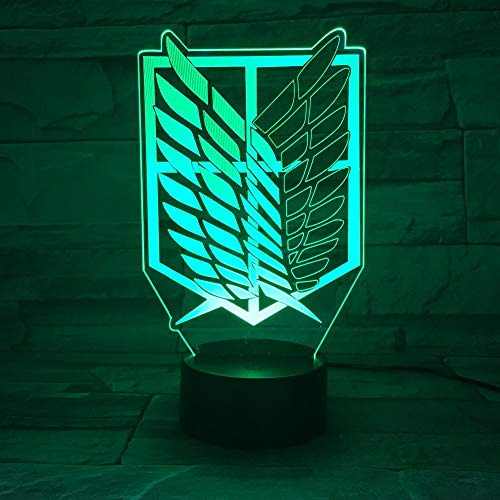 Animation Angriff auf Titan Wings of Liberty 3D LED Lampe mit 7 Farben ändern Effekt Home Office Schlafzimmer Art Decor