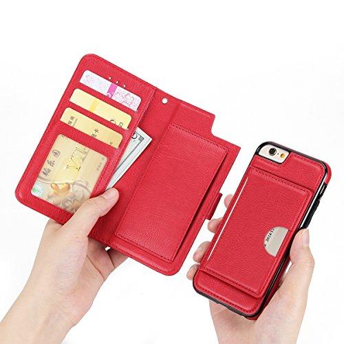 FindaGift iPhone 6 / iPhone 6s 4.7 inch Hülle, Klassisch PU Leder Wallet Case mit Flip Standfunktion und Kartensteckplätze Magnetic Closure Cover Anti-drop Schutzwache Case Mode Stoßfest Cover mit Abn Rot