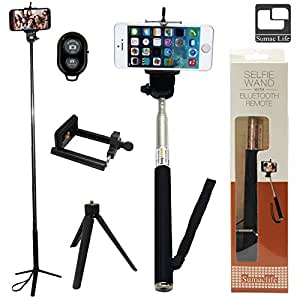 SumacLife Extendable Selfie Stand Stick Monopod + Mini Tripod Stand Mount for Camera and iPhone, Smartphones iOS Andriod Cellphone with Bluetooth Remote Shutter (Multicolor)