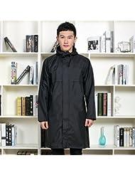 Adulte Raincoat Manteau étanche pour hommes Longue section Vêtements de mode respirant Poncho mince (Noir / Bleu)