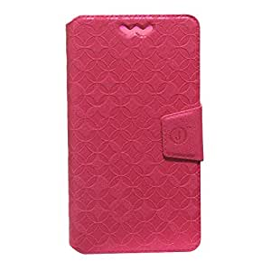 J Cover Aarav Series Leather Pouch Flip Case With Silicon Holder For YU YUNIQUE YU4711 Smartphone  Red