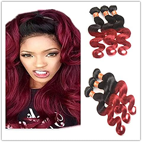 XQXHair Hot vendita Promozione prezzo 8A Ombre brasiliano capelli 3 fasci brasiliano corpo Wave Ombre Human Hair Weave 2TColor 1b/bug brasiliana vergine capelli Ombre estensioni dei capelli , 12 12 12
