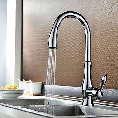 SHUYOU® Traditional Chrome Finish One Hole Single Handle Deck Mounted Rotatable Pullout Spray Kitchen Faucet