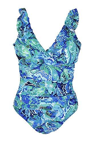 Lauren Ralph Lauren Damen-Badeanzug mit V-Ausschnitt, gerafft, Blumenmuster, Blau - Blau - 42 -