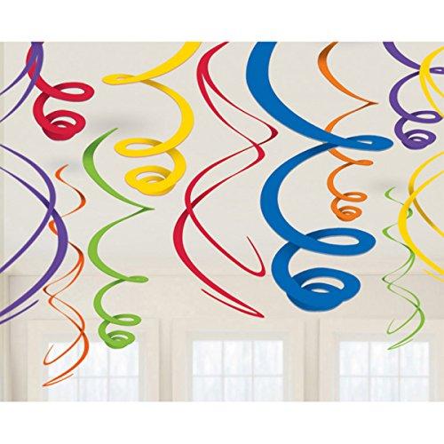 Party Dekorationen Für Ideen (12 Farbenfrohe Folienwirbel Deko farbig Spiralen Partydeko tolle originelle Dekoration Ideen für Geburtstag)