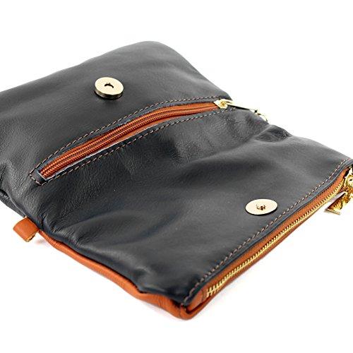 modamoda de -. Borsa ital Borsa piccola in pelle di spalla delle signore sacchetto di frizione polso Bag T95 pelle Dunkelblau/Camel