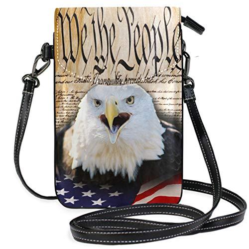 ZZKKO Mini-Umhängetasche, mit amerikanischer Flagge, Bald Eagle, Vintage, für Handy, Handtasche, Leder, für Damen, legerer Alltag, Reisen, Wandern, Camping