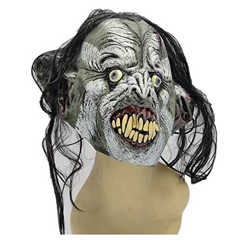 Latex Maske Halloween Kostüm Ball Nachtclub Grüne Weiße Gesichts Perücke Große Zahn Nase. Maske