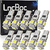 LncBoc 10x T10 LED Auto Lampadina W5W LED luci dell'automobile Bulb 5SMD 5050LED 6000K Blanco 194 168 Per la Luce Interna Dell'auto Targa Lampade Replacment