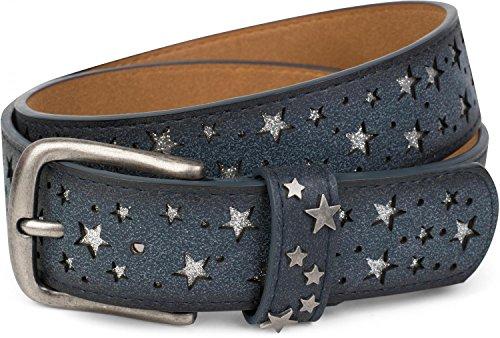 1fa0f8c6f33a73 styleBREAKER Gürtel mit Sterne Cutout und glitzernden kleinen Pailletten,  Glitzergürtel, Damen 03010072