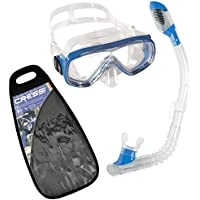Cressi Kids Ondina & Minidry Snorkeling Combo Set - Blue, Yellow, Pink - Made in Italy