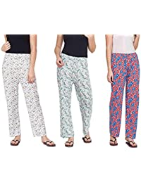 9f5e1ed4b MUKHAKSH (Pack of 3 Women s Girls Ladies Hot Soft Cotton Printed  Payjamas Lounge Pants Night Pants for Women