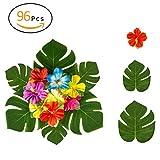 ANPHSIN 96 Pcs Tropische Blätter Künstlich, Künstliche Palmblätter und Hibiskus Blumen - Tropischen Party Dekorationen für Hawaiian Luau Jungle Beach Theme Tisch Zimmer Hochzeit Dekor Baby Shower