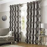Homescapes - Par de cortinas con ojales, estampado hojas, color gris y plata, gris, l 117 x H 137 cm