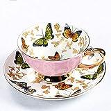 JGDGJKFB Tazza di caffè Bone China Coffee Cup Sets Colorful Farfalle in Ceramica Tazze e piattini British Office Teacup Porcellana Bel Regalo
