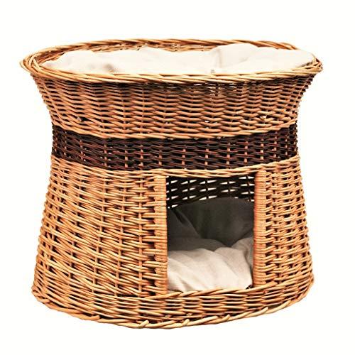 GalaDis 2-85-1 Ovale Katzenhöhle aus Weide Zwei Kissen. EIN Katzenkorb für Ihre Katze zum Ruhen und Spielen/Katzenturm / Katzenbett (Kissen hell)