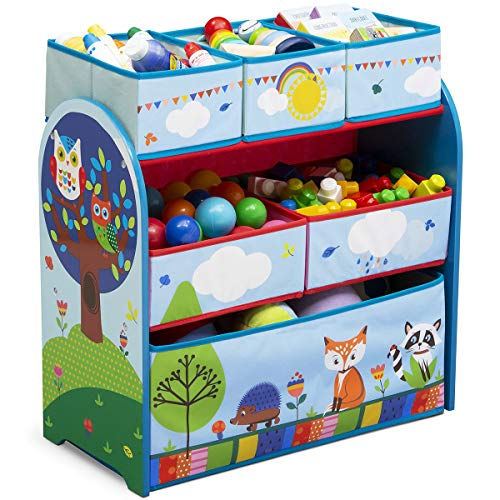 TW24 Aufbewahrungsregal mit 6 Boxen und Motivwahl Kinderregal Holz Aufbewahrungsboxen Regal Kindermöbel Standregal (Wald)
