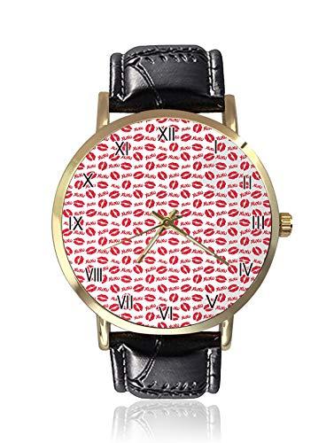 Lippenstift Kisses & XOXO Similyms Muster Liebe Romantische Feminine Lippen Prints Damenuhr Sportuhr Damen Freizeit Armbanduhr - Frauen Xoxo Watchs