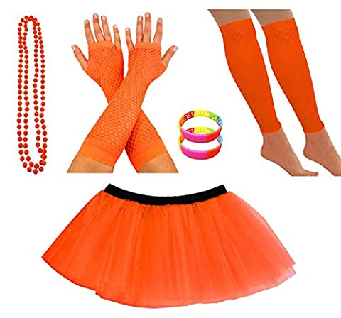 REDSTAR FANCY DRESS® Neon Tutu Skirt Leg Warmers Fishnet Gloves Necklace Beads and Neon Wrist Beads (14-22 UK, Orange)