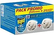 Raid - Night & Day anti mosquitos y hormigas eléctrico sin olor, control de intensidad, 200 horas, 2 difus