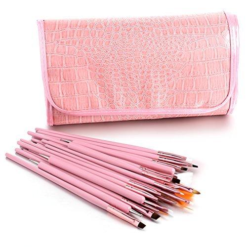 Glow Nail Art Outils réglés; 25 pinceaux et, outils de pointillage pour nail art; rose