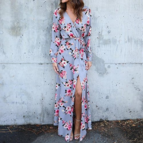 769d1bcb9f47f9 ... Sommerkleid Damen Longra Blumen Kleid Lange Kleider Maxikleid Damen V- Ausschnitt Langarm Boho Beach Kleid ...