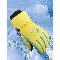 Zerobox Winter Waterproof Warm Kids Children Snow Ski Gloves Colorful Snowboard Gloves for Boys Girls (XS, Yellow)
