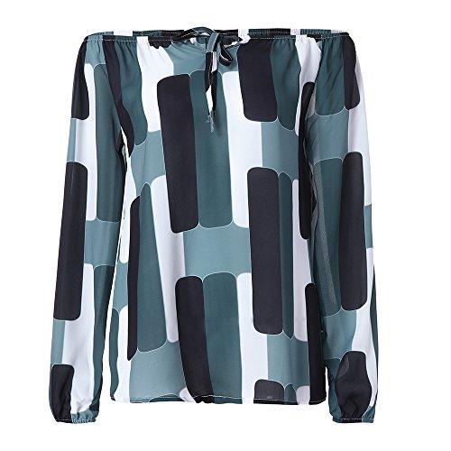 IMJONO Damen Lace Patchwork Schulterfreie Slim Fit Bluse Oberteile Tops(EU-36/CN-M,Schwarz) (Bluse Nylon-seide)