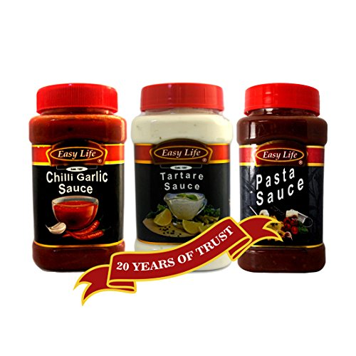 Easy Life Combo Pack of Chilli Garlic Sauce (340g) and Tartare Sauce(315g) with Pasta Sauce (350g)