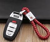 Für Audi RS Logo Emblem Schlüssel Kette Schlüssel Ring Metall Legierung BV Stil Rot Leder-Geschenk-Dekoration Zubehör S-line Sline A4A5A6S6RS3
