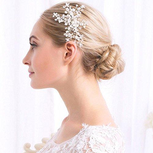 Haixin Peigne à cheveux mariée, toujours à la main diamond pearl peigne accessoires de mariage, taille : 11 cm * 9,5 cm