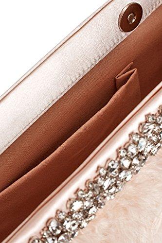 next Donna Pochette Decorata Con Piume Rosa chiaro