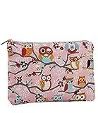 SIX Geschenk kleine süße rosa Kosmetiktasche mit Eulenmotiven, Tieren, Blumen, Bag In Bag (129-602)